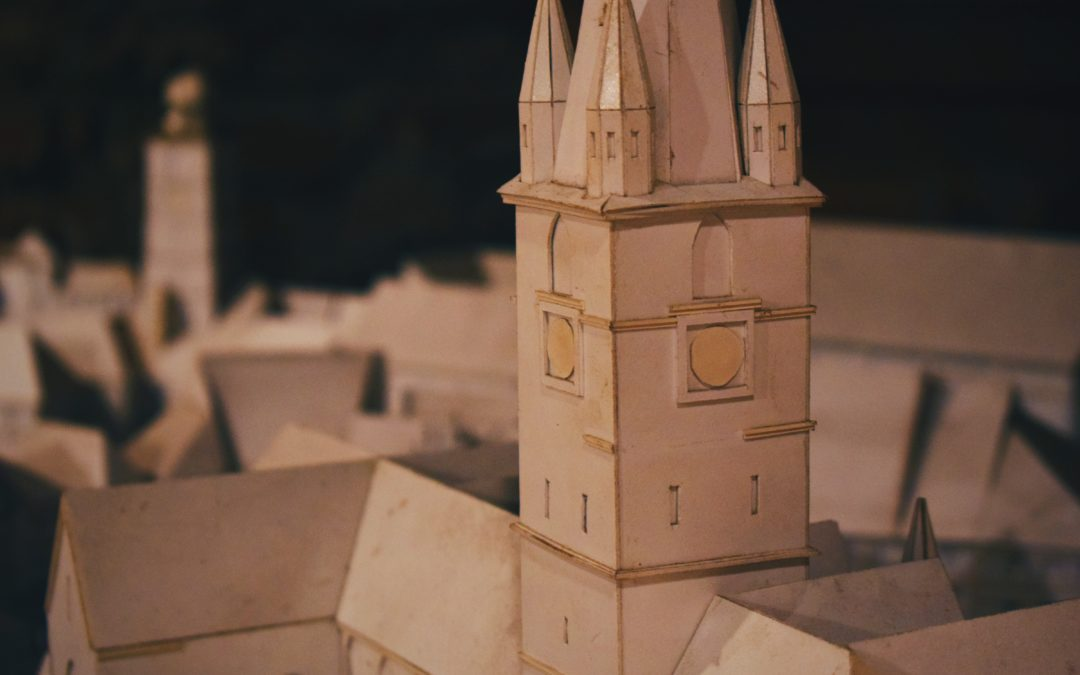closeup photo of white castle miniature